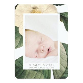 Weiße antike Blumen-Foto-Karten-Geburts-Mitteilung 12,7 X 17,8 Cm Einladungskarte