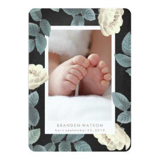 Weiße antike Rosen-Foto-Karten-Geburts-Mitteilung 12,7 X 17,8 Cm Einladungskarte