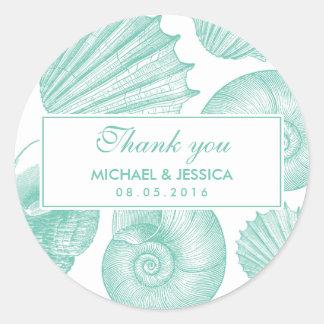Weiße aquamarine Seashell-Hochzeit danken Ihnen Runder Aufkleber