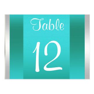Weiße aquamarine Tischnummer-Karte NYC Skyline BW Postkarte
