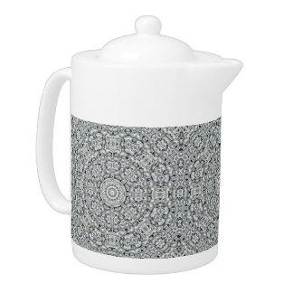 Weiße Blatt-Kaleidoskop-   Muster-Teekannen