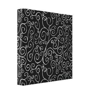 Weiße Blättern-Kurven auf Schwarzem Gespannter Galeriedruck