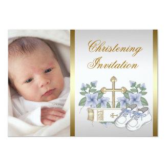 Weiße blaue Goldbaby-Jungen-Foto-Taufe 12,7 X 17,8 Cm Einladungskarte