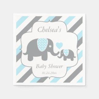 Weiße, blaue u. graue Streifen-Elefant-Babyparty Papierserviette