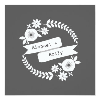 Weiße BlumenKranz-Hochzeit von den Eltern der Quadratische 13,3 Cm Einladungskarte