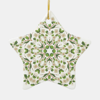 Weiße Blüte Ornament2 Keramik Stern-Ornament