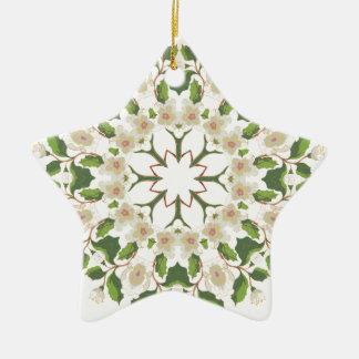 Weiße Blüten-Verzierung Keramik Ornament