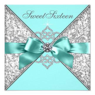 Weiße Diamant-aquamariner blauer Bonbon 16 Karte