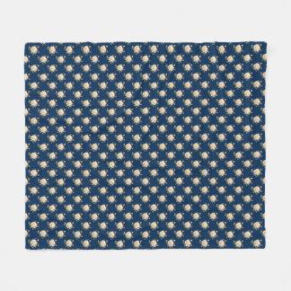 Weiße Fleece-Decke des Rosen-Muster-(Marineblau) Fleecedecke