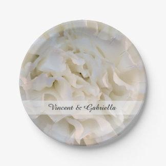 Weiße Gartennelken-Blumenhochzeit Pappteller
