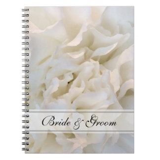 Weiße Gartennelken-Blumenhochzeit Spiral Notizblock