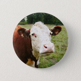 Weiße gegenübergestellte Rindfleisch-Kuh Runder Button 5,7 Cm