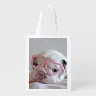 Weiße Gläser Junges der französischen Bulldogge, Wiederverwendbare Tragetaschen