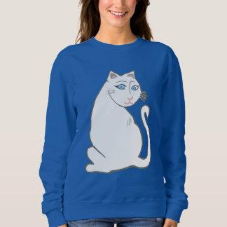Weiße Katze mit dem Sweatshirt der blaue