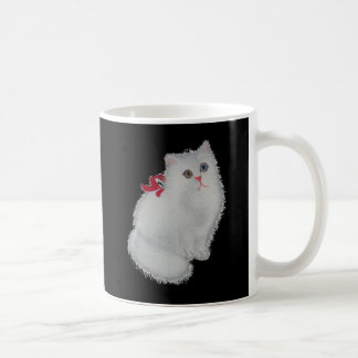 Weiße Katze mit rotem Band Kaffeetasse