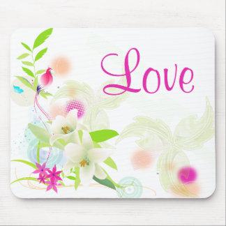 Weiße Lilien u. lila Blumen-BlumenLiebe Mousepad