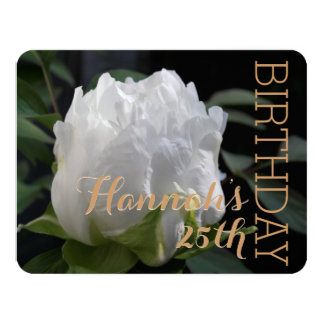 Weiße Pfingstrosen-25. Geburtstags-Party Einladung 10,8 X 14 Cm Einladungskarte