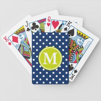 Weiße Polka-Punkte auf Marine mit Limonem Bicycle Spielkarten