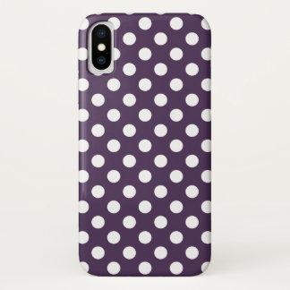 Weiße Polkapunkte auf der Pflaume lila iPhone X Hülle