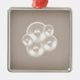 Weiße retro Musik-Lautsprecher Silbernes Ornament
