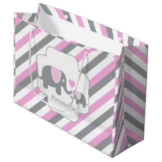 Weiße, rosa u. graue Streifen-Elefant-Babyparty Große Geschenktüte
