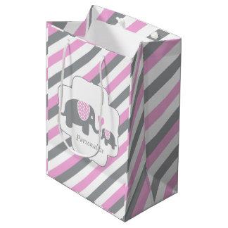 Weiße, rosa u. graue Streifen-Elefant-Babyparty Medium Geschenktüte