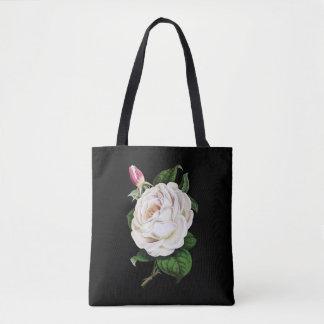 Weiße Rose mit Knospen-Taschen-Tasche