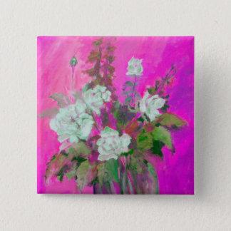 weiße Rose Quadratischer Button 5,1 Cm