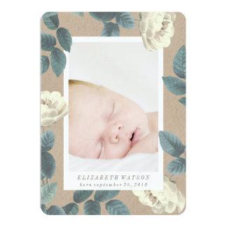 Weiße Rosen-Blumen-Foto-Karten-Geburts-Mitteilung 12,7 X 17,8 Cm Einladungskarte