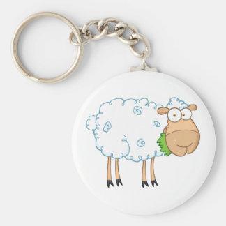 Weiße Schaf-Cartoon-Charakter Standard Runder Schlüsselanhänger