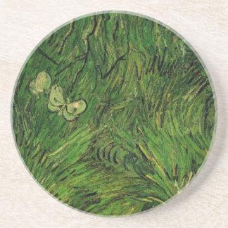 Weiße Schmetterlinge Van Gogh zwei, Vintage feine Untersetzer