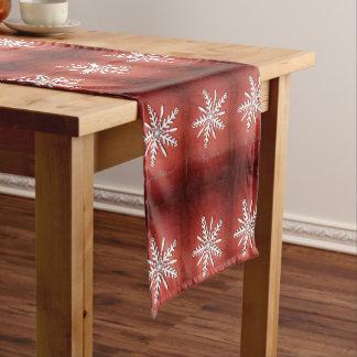 Weiße Schneeflocken, Weihnachtsläufertischdecke Kurzer Tischläufer