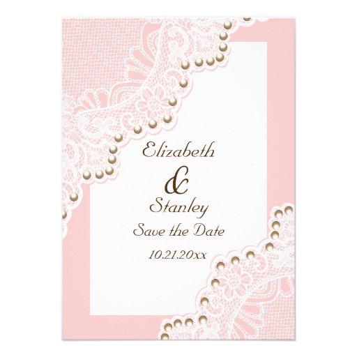 Weiße Spitze mit Perlen rosa wedding Save the Date Ankündigungskarte