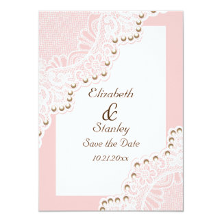 Weiße Spitze mit Perlen rosa wedding Save the Date 11,4 X 15,9 Cm Einladungskarte
