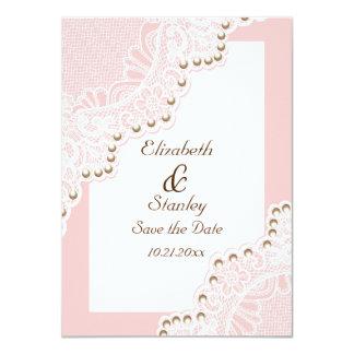 Weiße Spitze mit Perlen rosa wedding Save the Date Karte