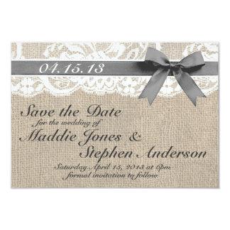 Weiße Spitze u. Leinwand, die Save the Date 8,9 X 12,7 Cm Einladungskarte