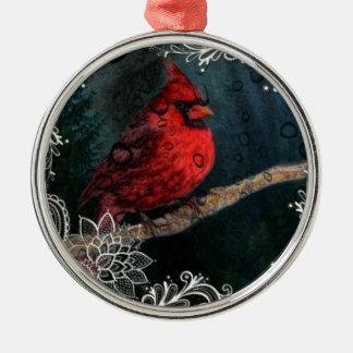 Weiße Spitze ursprünglicher Weihnachtsrot-Kardinal Rundes Silberfarbenes Ornament