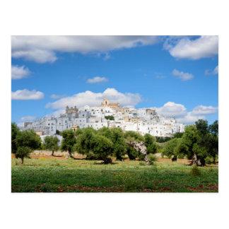 Weiße Stadt Ostuni und Olivenbäume, Postkarten