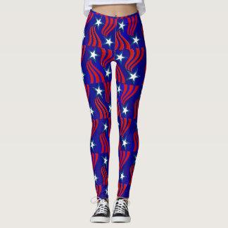 Weiße Sterne, rote Streifen und blaue Leggings