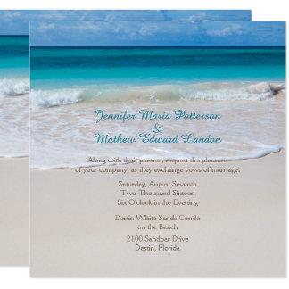 Weiße Strand-Hochzeits-Einladung Quadratische 13,3 Cm Einladungskarte
