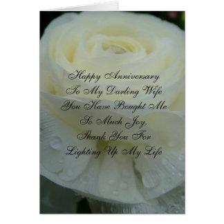 Weiße süße Ehefrau-Jahrestags-mit Blumenkarte Grußkarte