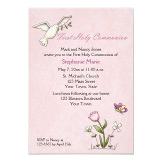 Weiße Taube, rosa Blumen-heilige Kommunion 12,7 X 17,8 Cm Einladungskarte