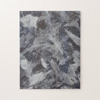 Weiße Tinte auf Brown und blauem Hintergrund Puzzle