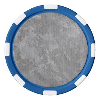Weiße Tinte auf silbernem Hintergrund Pokerchips