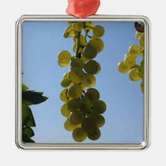 Weiße Trauben auf der Rebe gegen den blauen Himmel Quadratisches Silberfarbenes Ornament