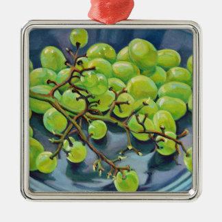Weiße Trauben Quadratisches Silberfarbenes Ornament