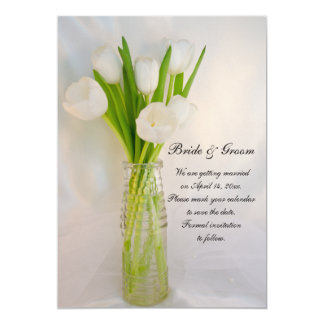 Weiße Tulpe im Flaschen-Frühling Save the Date 12,7 X 17,8 Cm Einladungskarte