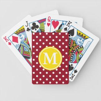 Weiße Tupfen auf Rot mit gelbem Monogramm Bicycle Spielkarten
