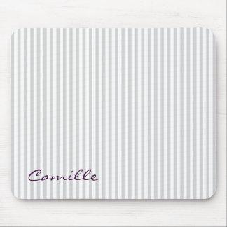 weiße und graue Streifen personalisiert namentlich Mousepad
