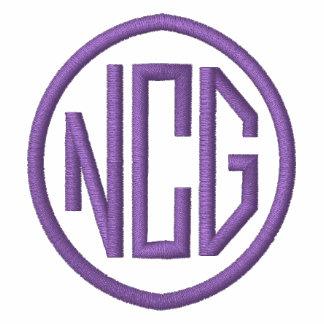 Weiße und lila gestickte Monogramm-Jacke Bestickte Sportjacken